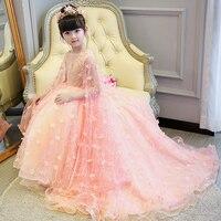 Роскошные Детская одежда принцессы для девочек Бальные платья с длинным шлейфом на шнуровке на день рождения Одежда для свадьбы милое наря