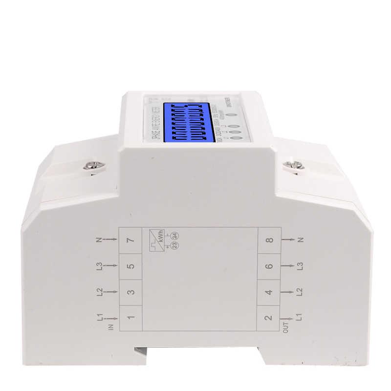 Din Rail 3 phases 4 fils électronique Watt consommation d'énergie wattmètre kWh 5-80A 380V AC 50Hz LCD rétro-éclairage affichage
