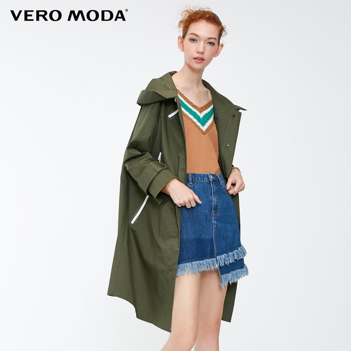 Vero Moda 2019 New Women's Sports Style Decorative Zip Hooded Wind Coat   Trench   Coat | 318421506