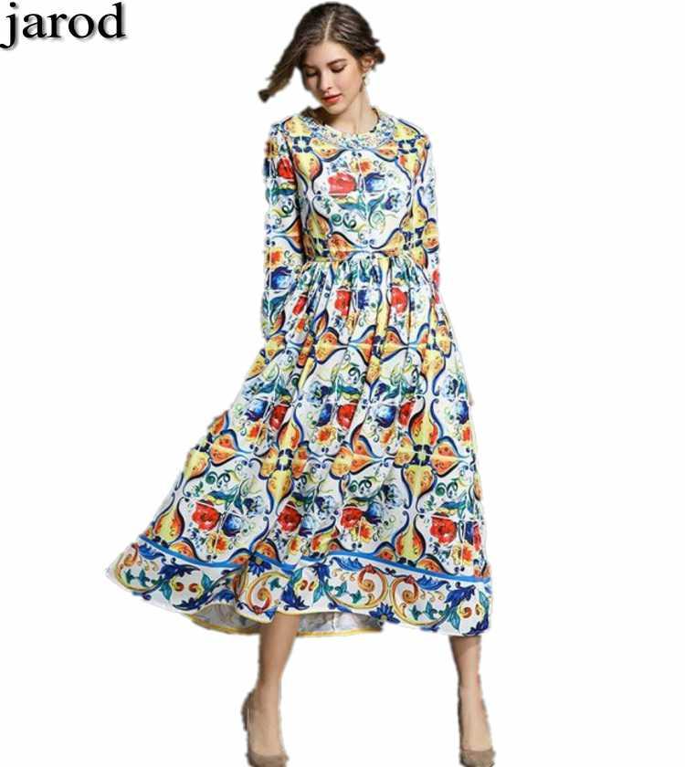 2017 Maxi Dresses Long Sleeve Long Dress Women elegant A Line Blue and white porcelain Floral