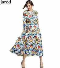 2017 Maxi Dresses Long Sleeve Long Dress Women elegant A-Line Blue and white porcelain Floral Printed Casual Long Dress