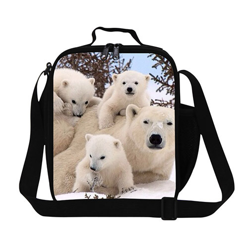 Polar Bear Print Animal Lunch Bag for Adult,Insulated thermal lunch bags for kids,shoulder picnic bag box for students child 31