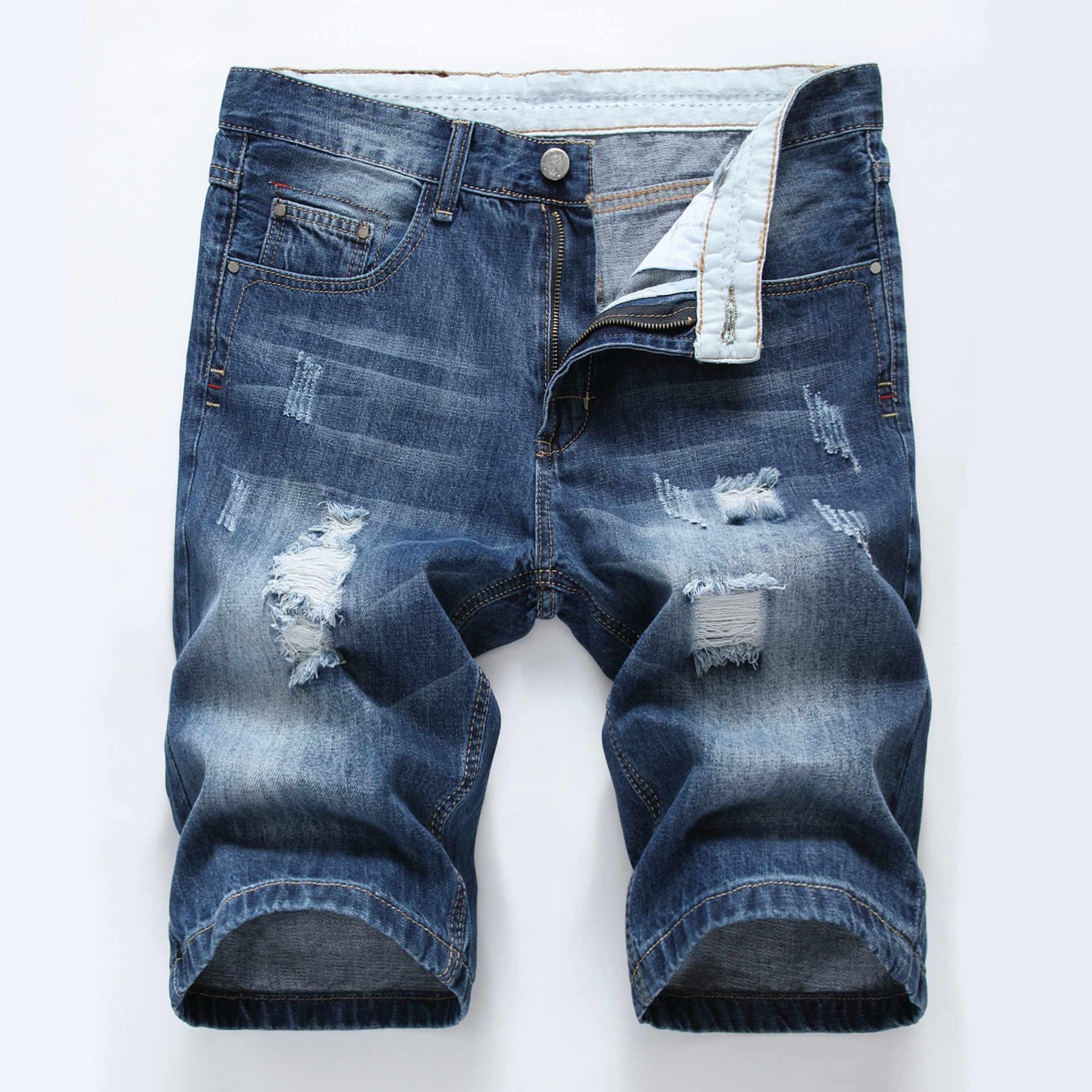 2c5718d647 ... Summer cotton hole denim shorts male ripped jeans retro men jean shorts  bermuda skate board harem ...