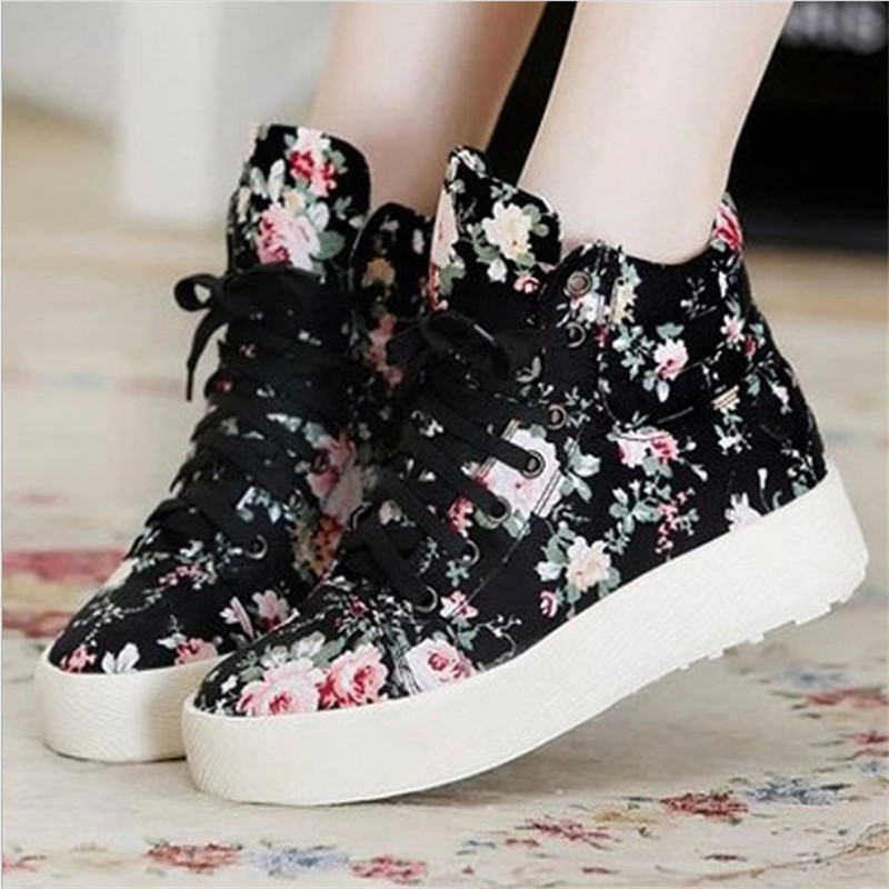 Women's Vulcanize Shoes 2018 Summer Fashion Ladies Platform Lace-up Casual Shoes Breathable Women print Canvas Footwear YLD903 de la chance women vulcanize shoes platform breathable canvas shoes woman wedge sneakers casual fashion candy color students