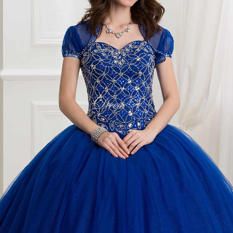 95a22167d7375 Dressv 2017 Dark Royal Blue Ball Gown quinceanera dress 2 Piece Puffy  Quinceanera Dresses With Jacket beading Sweet 16 Dress