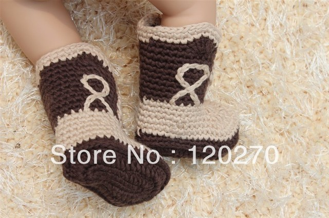 Free Shipping Crochet Cowboy Boots Prewalker Shoes Baby Girls Boys