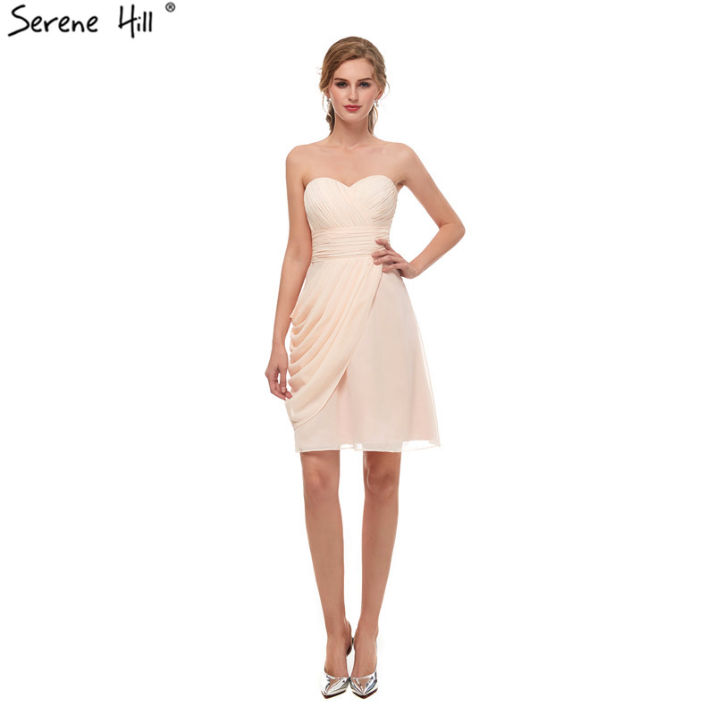 New Champagne Fashion Sexy Short Prom Dresses Sleeveless Chiffon Simple Evening Party Gown Serene Hill 13669