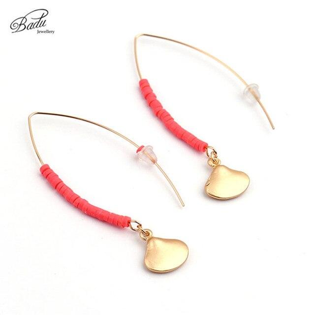c4915393019e Badu las mujeres pendientes de oro Vieira largo colgante de joyería de moda  rojo granos de