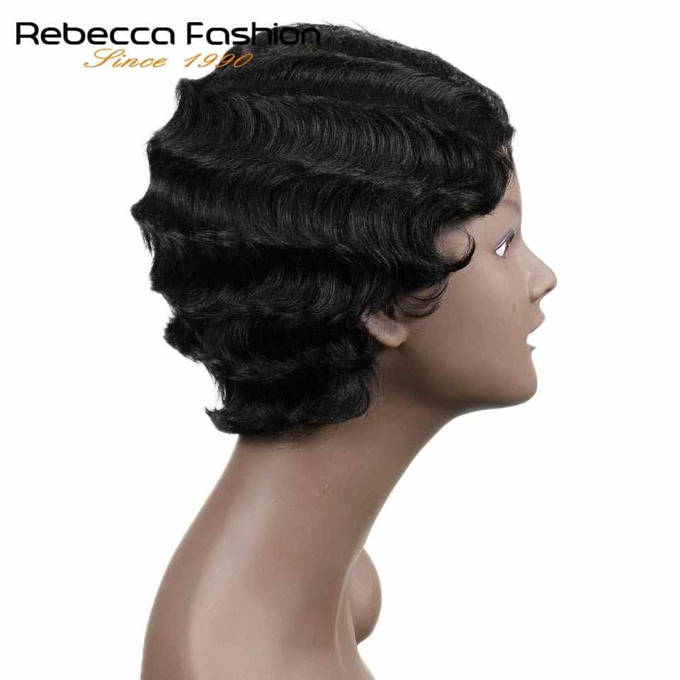Rebecca человеческие волосы, бразильские волосы Remy, короткие волнистые волосы, парики для чернокожих женщин, Короткие ретро парики, человеческие волосы, Короткие парики