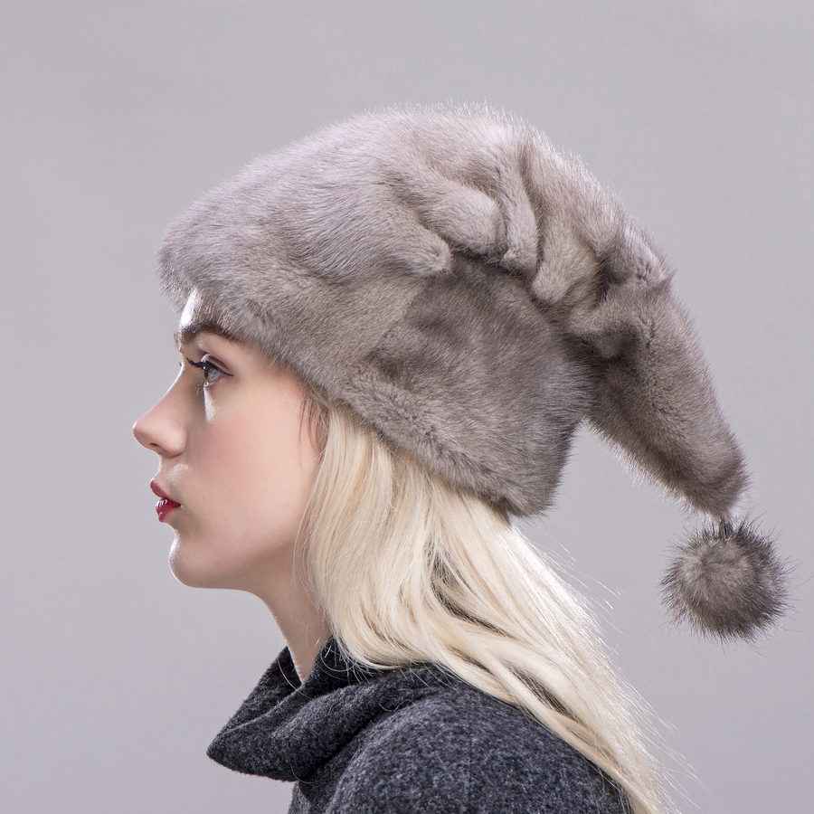 FXFURS Christmas hat mink fur whole skin high quality fur caps with one mink ball hats women winter warm protection ear - 3