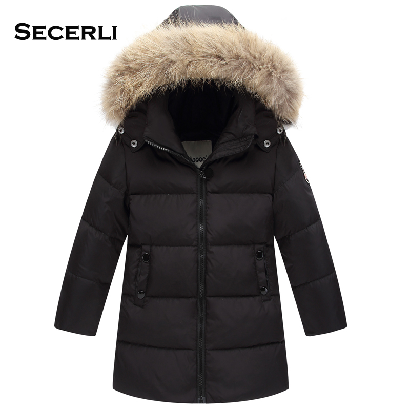 2017 New Long Hooded Boys Winter Jacket Coat White Duck Down Girls Winter Clothes 2 4 6 8 Years Baby Boys Coat Warm Jacket