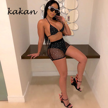 Kakan sexy women's mesh jumpsuit two-piece club party jumpsuit wave point black blue jumpsuit kakan new women s beaded mesh dress black wine red tibetan blue sexy loose dress club party nightclub sexy dress