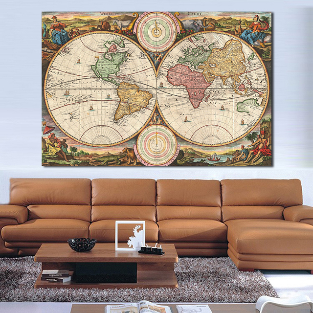 Jqhyart Wall Pictures For Living Room Old World Map Canvas Art Home