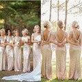Dorsolumbares Lentejuelas Vestidos de dama de Honor Con Revestimiento Tramo Delgado Formal Largo Mujeres Vestido de Fiesta de Bodas
