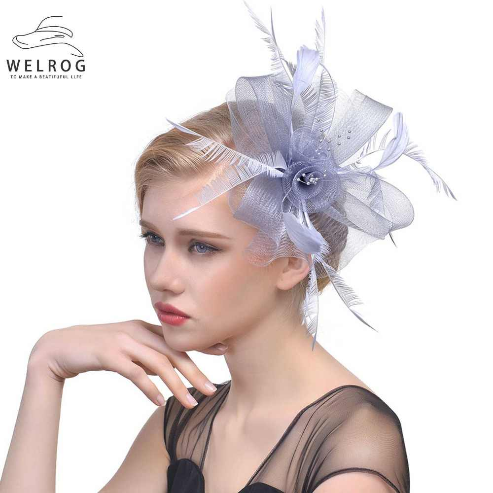 a41c295f ... WELROG Ladies Royal Fascinators Hat Bride Wedding Sinamay Cocktail  Fascinator Women Mesh Feather Top Hats Party ...
