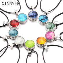 Glass Luminous Star Series Planet Necklace Crystal Snap Button Pendant Necklaces Glow in the Darkness Jewelry Christmas Gift