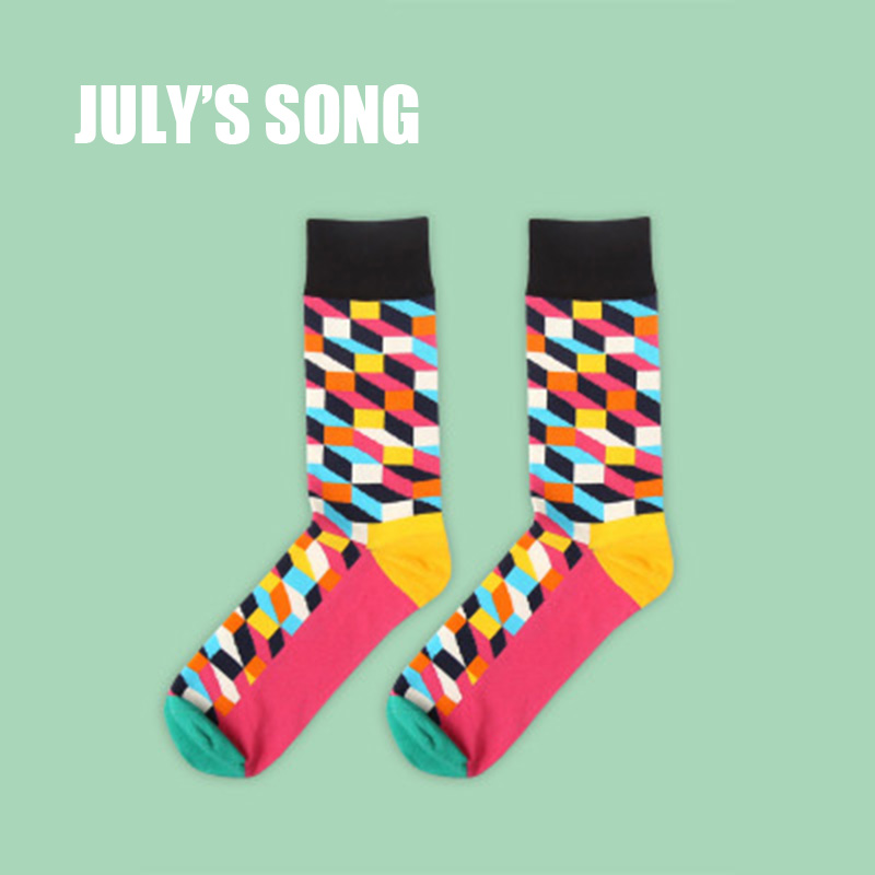 JULYS SONG Happy Socks Mens Funny Socks Brand Cotton Mens Dress Socks Novelty Warm Art Socks Socken Herren Thick Wool  ...