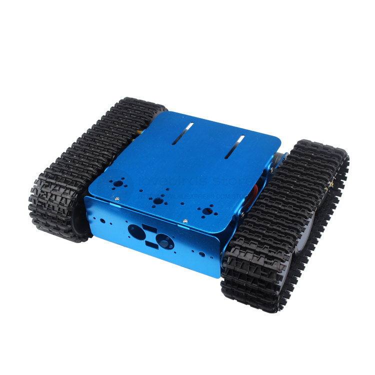 DIY wifi smart tank robot blue hard Aluminum Tracked robot chassis RC Model tank nylon crawler chassis unassembled diy tracked vehicle robot obstacle crossing chassis smart tank car