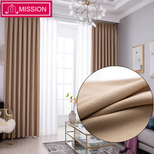 MISSION Solid Faux Linen Room Darkening Curtains for Living Bedroom Window Curtain Blinds Drapes Back Velvet Custom Made
