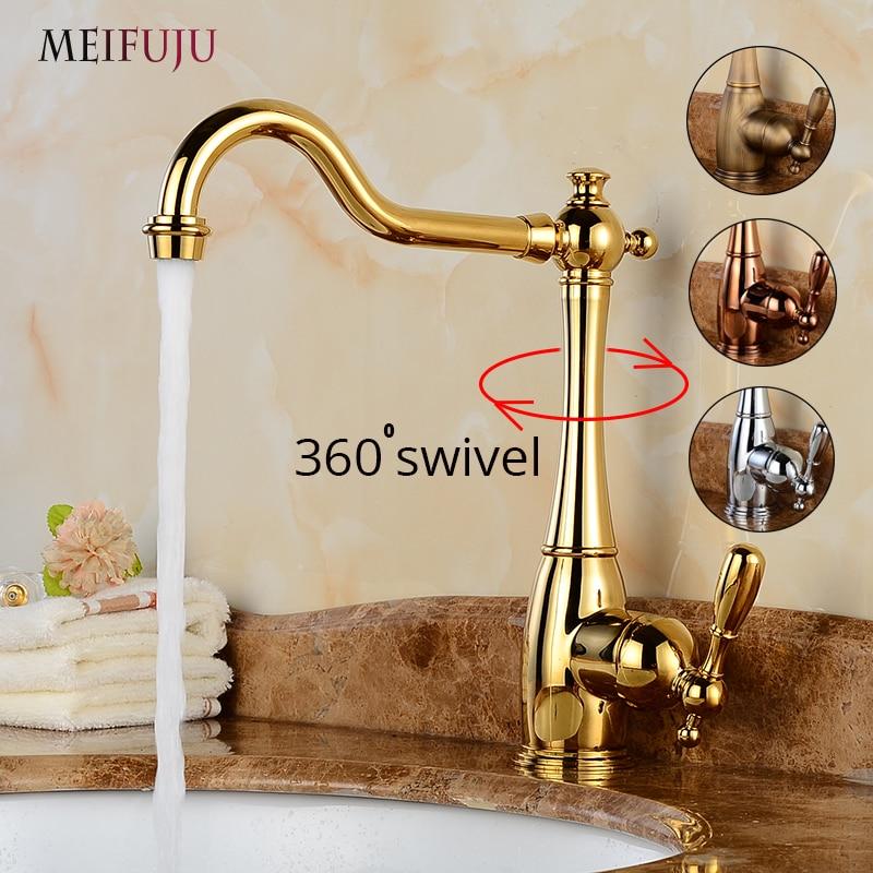 MEIFUJU robinet de salle de bains pivotant de luxe or Vintage bassin robinet Chrome bassin mitigeur 360 degrés Bronze robinet de cuisine en laiton