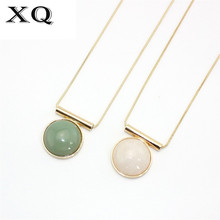 XQ 2016 free shipping The new fashion Snake chain long green stone, white stone circle nec