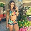 Newest Women Swimwear Crop Tops High Waist Shorts Floral Bikini Set Beach Swimsuit S M L
