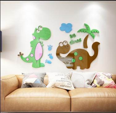 Лучший подарок на день рождения, Рождество, милый дизайн динозавра, цветные акриловые наклейки на стену для детской комнаты, украшения детс...