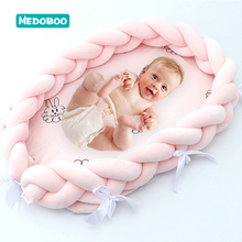 Medoboo Multifunction Baby Nest Newborn Crib Cotton Nodic Handmade Knotted Braid Bed Bumper Travel Bassinet