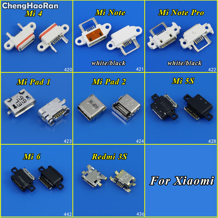 ChengHaoRan Micro USB Connector Micro USB Jack for Xiaomi Mi 4 5S 6 Note Pro Redmi 3S Pad 1 2 DC Charging Socket Port Connector