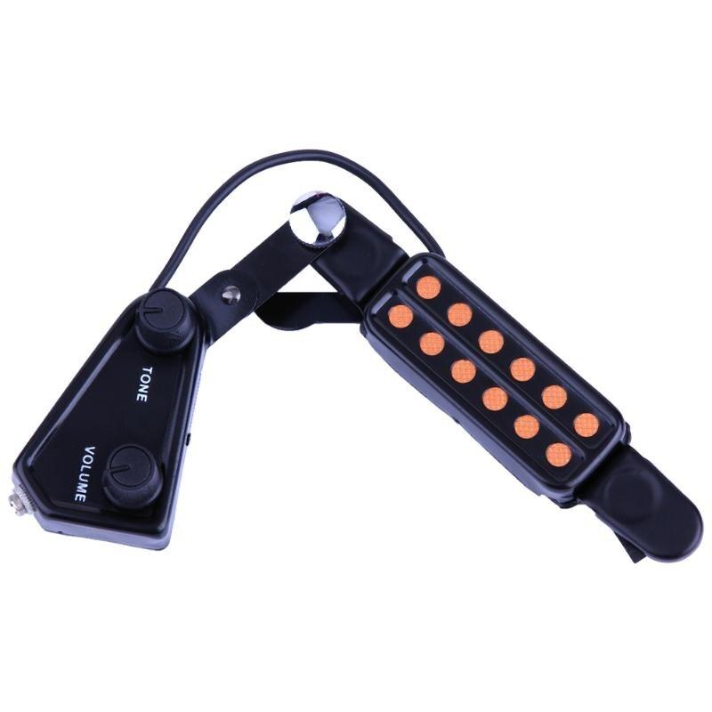 Haute Qualité Clip-sur Son Ramassage Microphone Fil 12 Trou Acoustique Électrique Guitare Pick up Transducteur Amplificateur Accessoires Nouveau