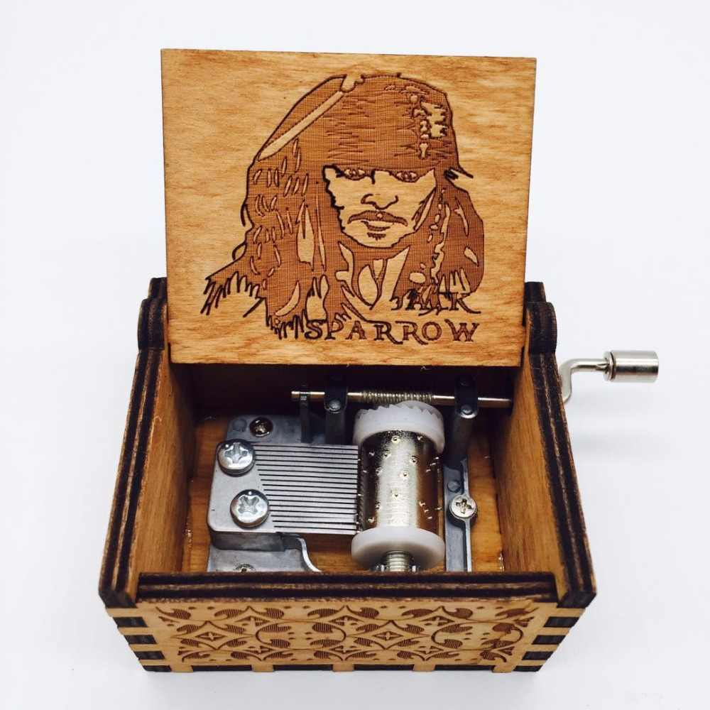 Pirates of the Caribbean Music Box Antique Carved wooden Davy Jones caja  musical captain Jack Musical boxes Dropshipping