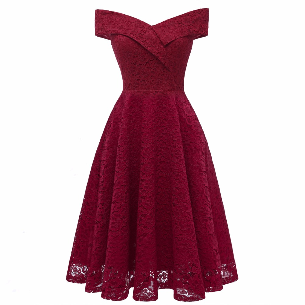 Enyuever Lace Dress Women Clothing 2018 Robe Vintage 50s Rockabilly
