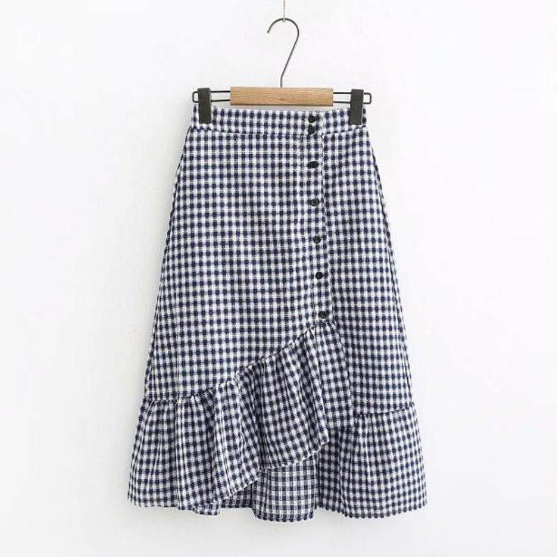 Fashion Women Skirts Elastic Waist Ruffles Elegant Skirts 3 Colors Plaid Irregular Split Skirts Summer Beach Style Casual Skirts
