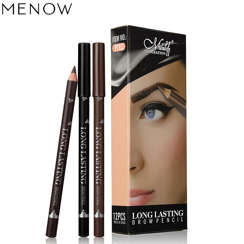 New Makeup MENOW Brand Long Lasting Waterproof Eyebrow Pencils Easy To Wear Black Brown Paint Eye Brow Brand Maquiagem