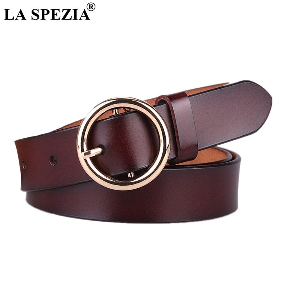 LA SPEZIA Leather Ring Belt Women Coffee Classic Waist Belts Ladies Circle Pin Buckle Female Genuine Cowhide Jeans