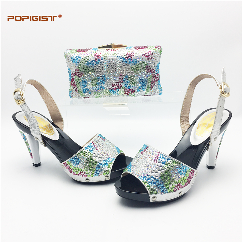 c02d0113d776 Italian shoes and bag to match in silver color high quality factory wholesale  price popular fashion