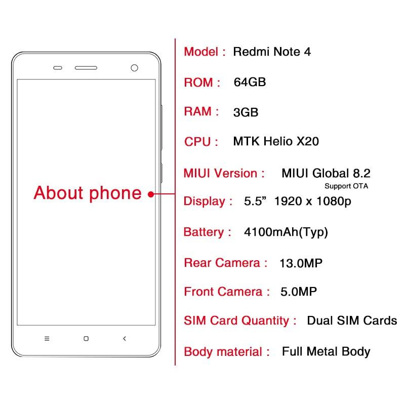 Original Xiaomi Mobile Phone Redmi Note 4 Pro 3GB RAM 64GB ROM MTK Helio  X20 Deca Core 5 5'' FHD 1920*1080P 13MP 4100mAh 4G+