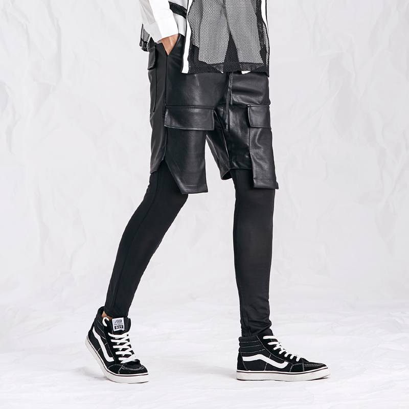 Summer New Korean version of Handsome Leather Pants Boyfriend Leisure Two Pieces Leather Pants with Leggings