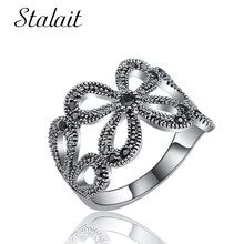 Bohemian Daisy Flower Hollow Ring Trendy Black Crystal Ancient Silver For Women Engagement
