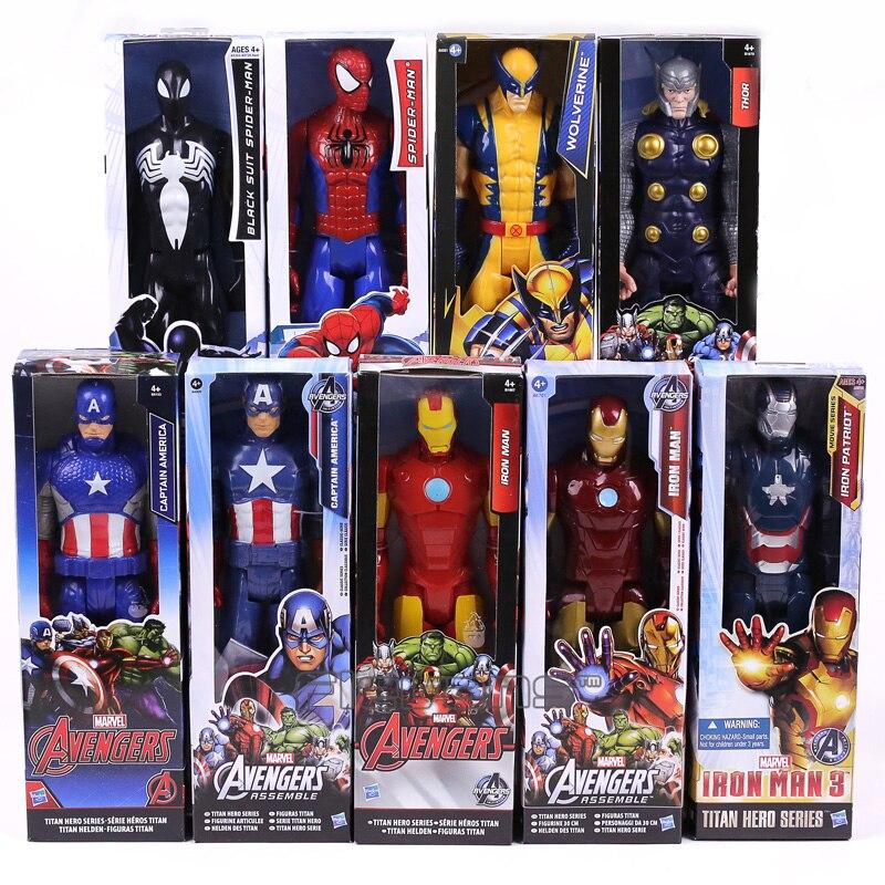 <font><b>Marvel</b></font> <font><b>Titan</b></font> <font><b>Hero</b></font> <font><b>Series</b></font> Captain America Thor Iron Man Spiderman Logan Iron Patriot PVC Action Figure Kids Toy Gift 12inch 30cm