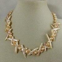 Charming Tự Nhiên Trang Sức Ngọc Trai Trắng Hồng Chéo Màu Tím Baroque Keshi Reborn Pearl Necklace Hạt Đá Màu Đỏ 18 Inch
