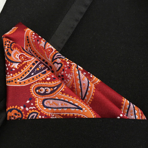 Luxury Pocket Square High Quality Woven Handkerchief Classic Paisley Hanky For Gentlemen
