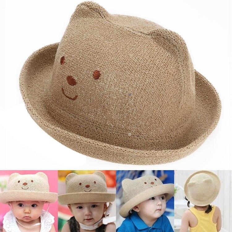 2015 mode enfants chapeaux d été bébé oreille décoration belle personnage  enfant filles et garçons chapeau de soleil solide enfants Floppy Panama  dans ... 1b05d2dd580