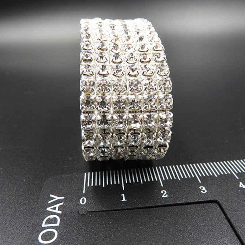 1 Pza pulsera de plata caliente Diamante de imitación mujeres brillo cristal nupcial 1/2/3/4/5/6Row brazalete delicado boda joyería Simple regalo