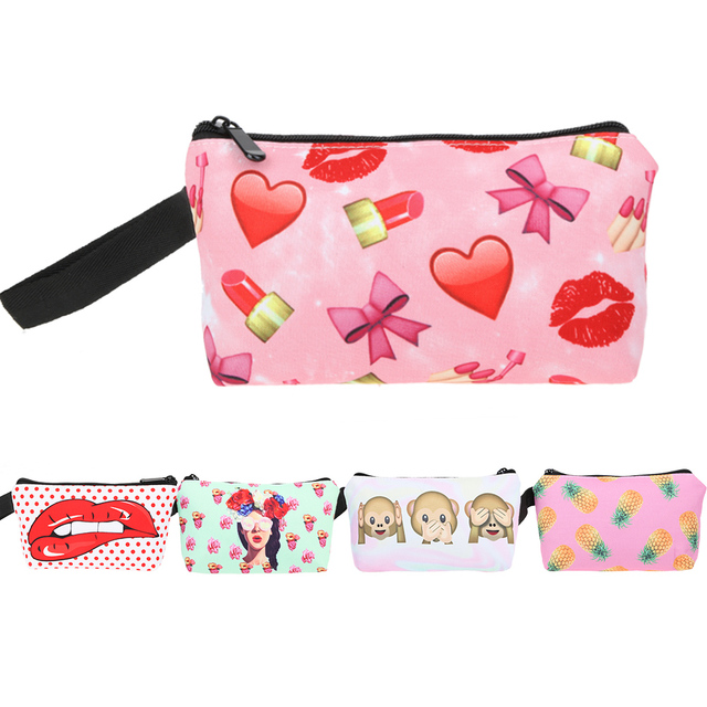 424422359e75 US $1.54 43% OFF|3D Printing Makeup Bags With Multicolor Pattern Cute  Cosmetics Pouchs For Travel Ladies Pouch Women Cosmetic Bag-in Coin Purses  from ...