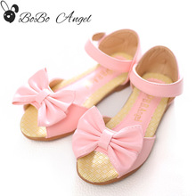 Kids Sandals Girls Summer Style Shoes 2017 New Children Bow Shoes Fashion Princess Shoes for Girls Fish Head Kids Sandals