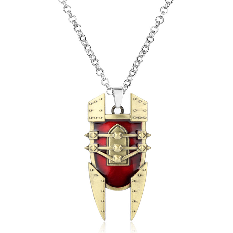 Hot Game Mad Chemist Singed Red Shield LO L intricate Pendant Necklace Attractive Design Durable Necklace Chaveiro Men Gift -30