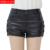 2017 outono inverno nova moda das mulheres de alta qualidade da pele de carneiro botão rosas de metal decorativo sexy bolsos shorts de couro preto 3XL