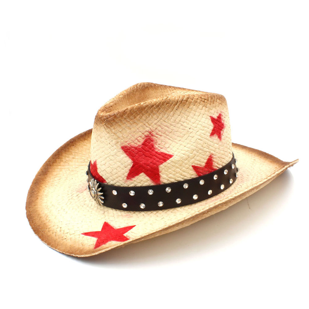 Men's Hats 2019 Women Men Straw Sun Sun Hat With Punk Leather Band Handmade Weave Lady Dad Sombrero Hombre Cowboy Jazz Caps Size 58cm Strengthening Sinews And Bones Apparel Accessories