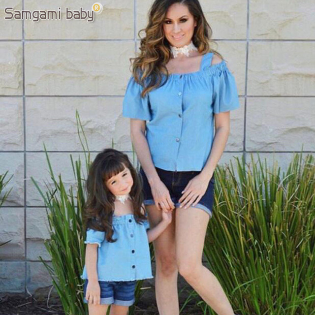 ea60908eb0d SAMGAMI BABY Parents and Children Summer Girls mom Condole Belt Short  Sleeve Tops+shorts 2pcs Family Matching Jeans Clothes Suit